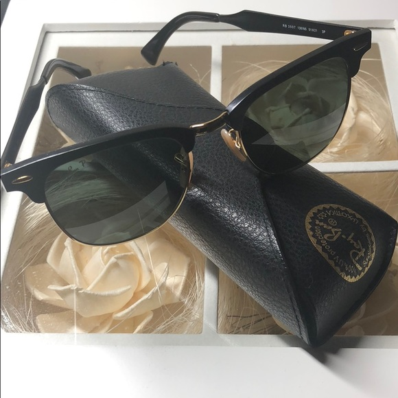 90c4190f969d3 ... where to buy ray ban clubmaster aluminum black green polarized 80169  26cc7